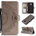 Imprinted Mandala Pattern PU Leather Phone Case for Samsung Galaxy J6 Plus / J6 Prime – Grey