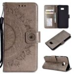 Imprinted Mandala Pattern PU Leather Wallet Case for Samsung Galaxy J4 Plus / J4 Prime – Grey