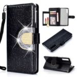 For Samsung Galaxy A7 (2018) A750 Glitter Powder Leather Case [Rhinestone Decor] [with Mirror]  – Black