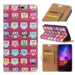 Pattern Printing Multiple Owls Leather Wallet Case for Samsung Galaxy A9 (2018) / A9 Star Pro / A9s – Purple Background