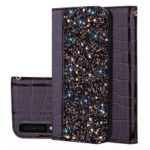 Crocodile Texture Glittery Sequins Splicing PU Leather Protective Case for Samsung Galaxy A7 (2018) – Black