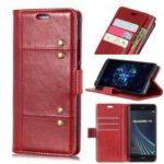 Crazy Horse Rivet Stand Wallet Magnetic Leather Mobile Phone Case for Samsung Galaxy A9 (2018) / A9 Star Pro / A9s – Red