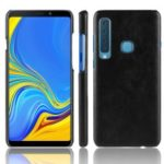 Litchi Skin Leather Coated Hard PC Case for Samsung Galaxy A9 (2018) / A9 Star Pro / A9s – Black
