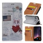 Pattern Printing PU Leather Card Holder Mobile Case for Samsung Galaxy A9 (2018) / A9 Star Pro / A9s – American Flag and Cat Holding Heart