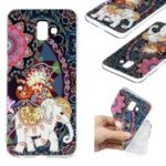 Pattern Printing TPU Case for Samsung Galaxy J6 Plus / J6 Prime / J610 – Flower and Elephant