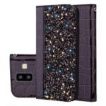 Crocodile Texture Glittery Sequins Splicing PU Leather Auto-absorbed Card Slot Case for Samsung Galaxy J6+ – Black