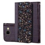 Crocodile Texture Glittery Sequins Splicing PU Leather Auto-absorbed Card Slot Case for Samsung Galaxy J4+ – Black