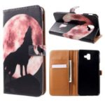 Pattern Printing Wallet Stand Leather Case for Samsung Galaxy J6+/J6 Prime – Wolf Howling at the Moon