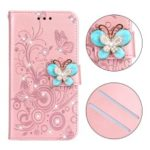 Imprint Flower Butterfly Rhinestone Wallet Leather Stand Case for Samsung Galaxy J4+ – Rose Gold
