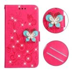 Imprint Flower Butterfly Rhinestone Leather Wallet Cover for Samsung Galaxy J6+ – Rose