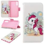 Pattern Printing Wallet Leather Flip Case for Samsung Galaxy A7 (2018) A750 – Unicorn