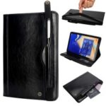 Retro Crazy Horse Texture Stand Wallet PU Leather Tablet Case with Pen Slot for Samsung Galaxy Tab S4 10.5 T830/T835 – Black