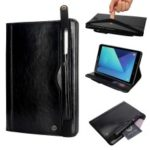 Retro Crazy Horse Texture Stand Wallet PU Leather Tablet Casing Shell with Pen Slot for Samsung Galaxy Tab S3 9.7 T820 – Black