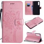 Imprint Cat and Tree PU Leather Wallet Stand Cover with Lanyard for Samsung Galaxy A7 (2018) A750 – Rose Gold