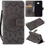 Imprint Sunflower PU Leather Wallet Magnetic Stand Casing for Samsung Galaxy J4+ / J4 Prime / J415 – Grey