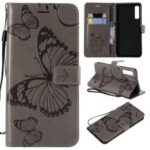 Imprinted Butterfly Wallet Leather Mobile Case for Samsung Galaxy A7 (2018) A750 – Grey