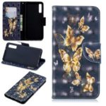 Pattern Printing Light Spot Decor Wallet Stand Leather Flip Mobile Phone Cover for Samsung Galaxy A7 (2018) A750 – Gold Butterfly