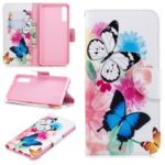 Pattern Printing PU Leather Protection Cell Phone Case for Samsung Galaxy A7 (2018) A750 – Butterflies and Flowers