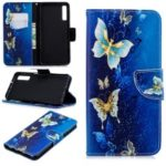 Pattern Printing Wallet Leather Case for Samsung Galaxy A7 (2018) A750 – Gold and Blue Butterfly
