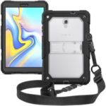 Clear Back PC + TPU 3-layer Shockproof Cover [Kickstand Shoulder Strap] for Samsung Galaxy Tab A 10.5 (2018) T590 T595 – Transparent