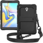 Black Back PC + TPU 3-layer Drop-proof Cover [Kickstand Shoulder Strap] for Samsung Galaxy Tab A 10.5 (2018) T590 T595 – Black