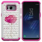 Pattern Printing Rhinestone Decor PC TPU Combo Case for Samsung Galaxy S8 SM-G950 – Pink Flower