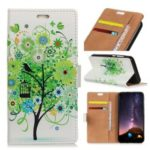 Pattern Printing PU Leather Card Holder Mobile Shell for Samsung Galaxy A6s – Green Flower Tree