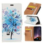 Pattern Printing PU Leather Card Holder Cell Phone Shell for Samsung Galaxy A6s – Blue Flower Tree