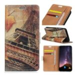 Pattern Printing PU Leather Card Holder Phone Accessory Shell for Samsung Galaxy A6s – Eiffel Tower and Maple Leaves