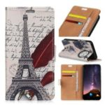 Pattern Printing PU Leather Card Holder Protection Cover Accessory for Samsung Galaxy A6s – Eiffel Tower and Quill-pen