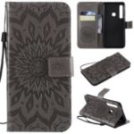 Imprint Sunflower PU Leather Phone Case for Samsung Galaxy A9 (2018) / A9 Star Pro / A9s – Grey