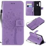 Imprint Cat and Tree Wallet Leather Phone Accessory Case for Samsung Galaxy A9 (2018) / A9 Star Pro / A9s – Light Purple