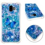 Patterned Quicksand Shockproof TPU Case for Samsung Galaxy J6 Plus / J6 Prime – Blue Butterfly
