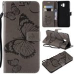 Imprinted Butterfly [Wallet Stand] Leather Case for Samsung Galaxy J6+ J610F / J6 Prime – Grey