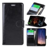 Crazy Horse Wallet Leather Magnetic Case with Stand for Sony Xperia XA3 Ultra – Black
