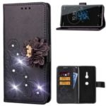 For Sony Xperia XZ3 3D Flower Leather Case / Wallet / Imprint Flower / Rhinestone Decor – Black