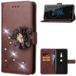 For Sony Xperia XZ3 [3D Flower] Leather Protection Shell / Wallet / Imprint Flower / Rhinestone Decor – Brown