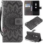 Imprint Sunflower PU Leather Wallet Magnetic Stand Mobile Phone Case for Sony Xperia XZ3 – Grey