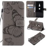 Imprinted Butterfly Wallet Stand Leather Cell Phone Casing with Magnet for Sony Xperia XZ3 – Grey
