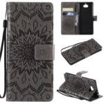 Imprint Sunflower Wallet Leather Stand Case for Sony Xperia XA3 – Grey