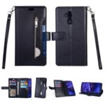 Zippered Leather Magnetic Stand Wallet TPU Back Casing with Strap for Huawei Mate 20 Lite – Black
