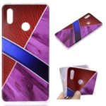 Splicing Marble Pattern and Leather Texture TPU Case for Huawei Honor Note 10 – Purple