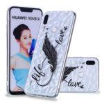 Embossed Pattern 3D Diamond Texture Flexible TPU Case for Huawei nova 3i / P Smart Plus – Feather Pen