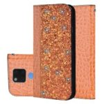 Crocodile Texture Glittery Sequins Splicing PU Leather Auto-absorbed Card Holder Casing for Huawei Mate 20 X – Orange