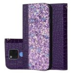 Crocodile Texture Glittery Sequins Splicing PU Leather Auto-absorbed Card Slot Protective Case for Huawei Mate 20 X – Dark Purple