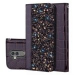 Crocodile Texture Glittery Sequins Splicing PU Leather Auto-absorbed Card Slot Case for Huawei Mate 20 Lite – Black