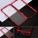 Electroplating Magnetic Attraction Metal Frame + Tempered Glass Back Phone Case for Huawei nova 3i / P Smart Plus – Red