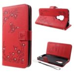 For Huawei Mate 20 Imprint Butterfly Flower Rhinestone Decor Wallet Leather Case – Red