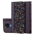 Crocodile Texture Glittery Sequins Splicing PU Leather Auto-absorbed Card Slot Case for Huawei Mate 20 – Black