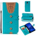 For Huawei Mate 20 Lite Splicing Leather Mobile Shell [Imprint Women Bow-tie] [Button Decor] – Cyan